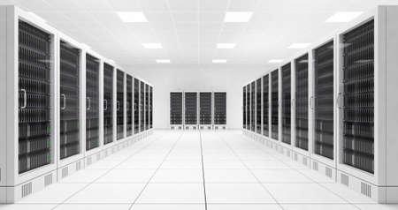 Datacenter avec deux rangées d'ordinateurs en salle blanche