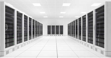 mainframe computer: Datacenter with two rows of computers in white room