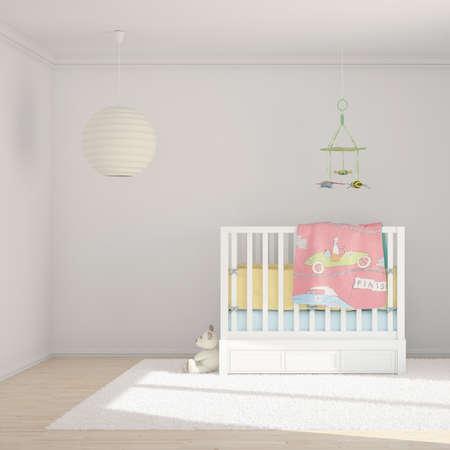 bebe cuna: Sala de ni�os con juguetes y una cama peque�a Foto de archivo