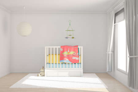 baby crib: Children room with toys and small bed