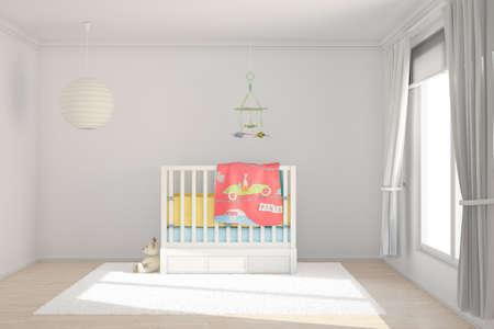 vivero: Sala de ni�os con juguetes y una cama peque�a Foto de archivo