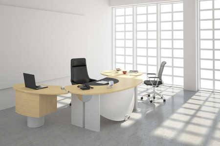Modern office loft style with big windows Stock Photo
