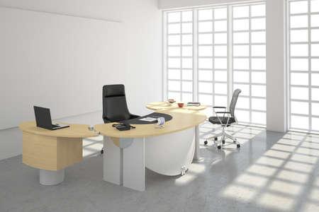 organized office: Modern office loft style with big windows Stock Photo