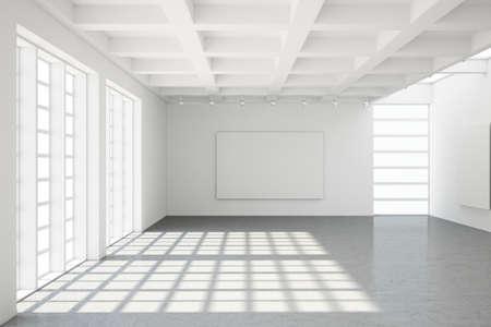 Empty modern loft with concrete floor and big Windows photo
