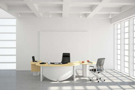 大きな窓付きの近代的なオフィス ロフト スタイル 写真素材