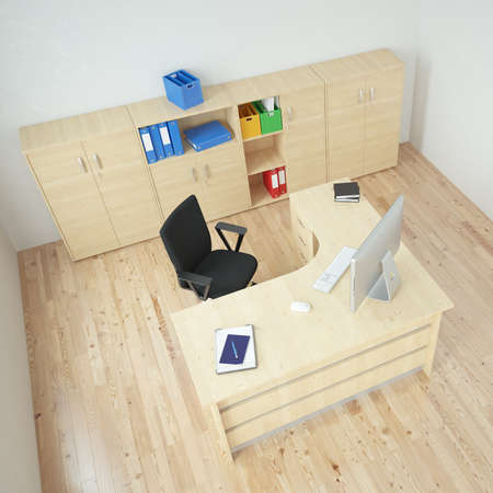 Modern office with wooden furniture and desk photo