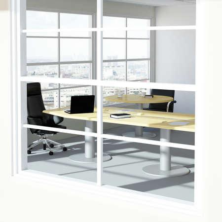 Empty modern office room with urban skyline