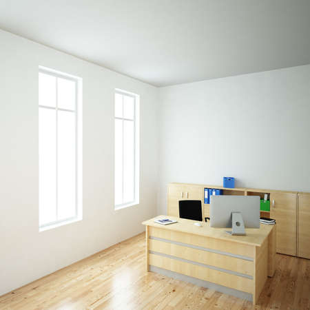 Bright Office with windows and wooden floor 版權商用圖片