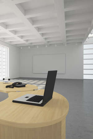 office ceiling: Modern office loft style with big windows Stock Photo