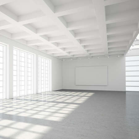 uncarpeted: Empty modern loft with concrete floor and big Windows