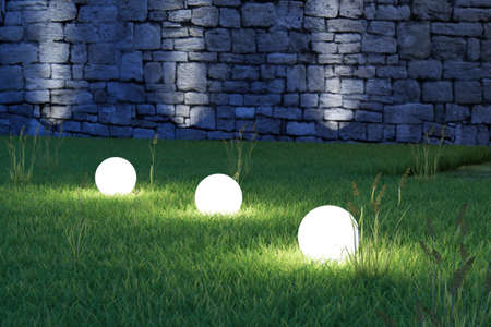 Glowing spheres in garden by night backyard photo