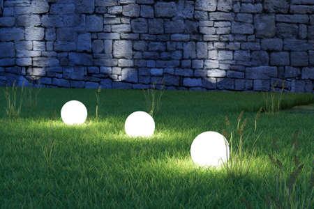 Leuchtende Kugeln im Garten bei Nacht Garten Standard-Bild - 25512634