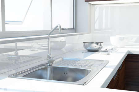 stainless steel sink: Modern white kitchen with sink and window