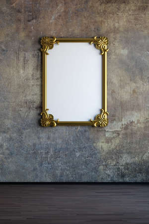 Old painting frame on worn wall with wooden floor