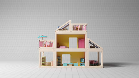 doll house: Children toy in studio shot with white striped  Stock Photo