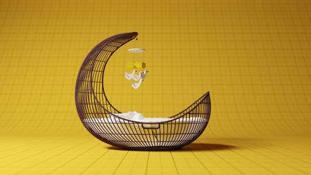 Children crip studio shot with yellow backdrop