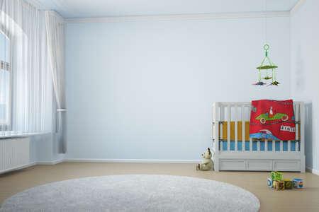 Nursery room with crip toys and window with curtain Standard-Bild