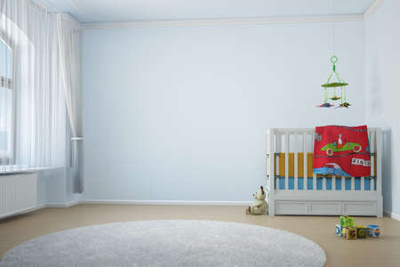 3d bedroom: Nursery room with crip toys and window with curtain Stock Photo