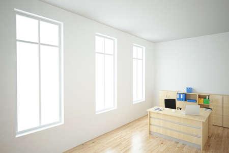 Office with laptop window view wooden floor