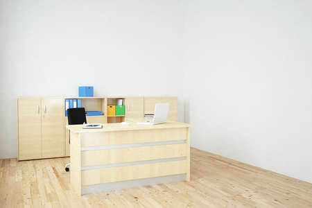 Office with laptop side view wooden floor