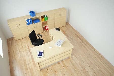 Office with laptop top view wooden floor 版權商用圖片