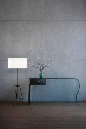 Desk with flowers and lamp in old environment