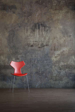 Red chair in old environment art style 版權商用圖片 - 26040915