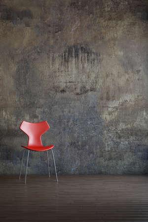 Roter Stuhl im alten Umfeld-Art-Stil Standard-Bild - 26040915