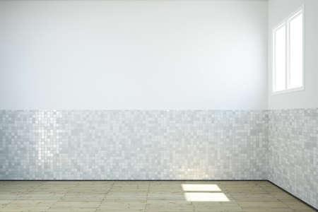 벽과 나무 바닥에 창문과 타일 빈 욕실 스톡 콘텐츠