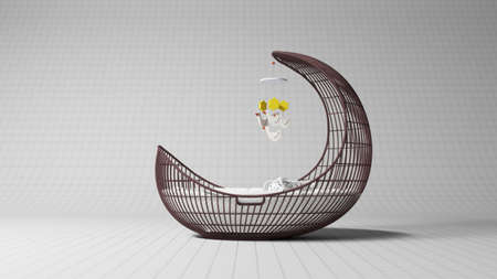 bed frame: Baby crib on white striped background modern design Stock Photo