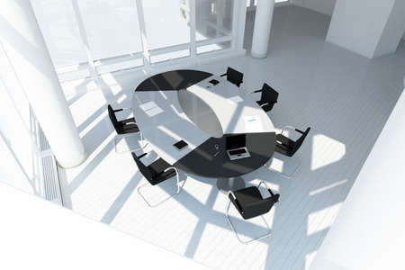 round chairs: Modern office loft top view with meeting setup Stock Photo