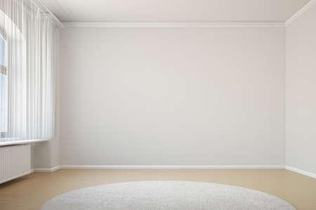 コピーのカーテンとカーペットの領域と空の部屋