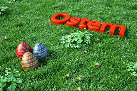 Easter background with red text in green grass photo
