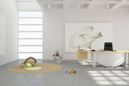 Home office with toys and desk with chair Standard-Bild
