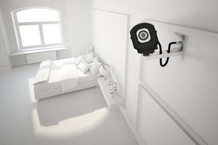cctv camera in bedroom white illustration look