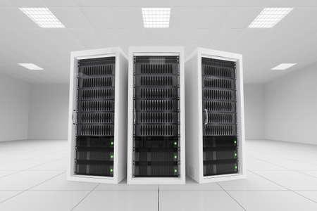 three data racks in server room bright white