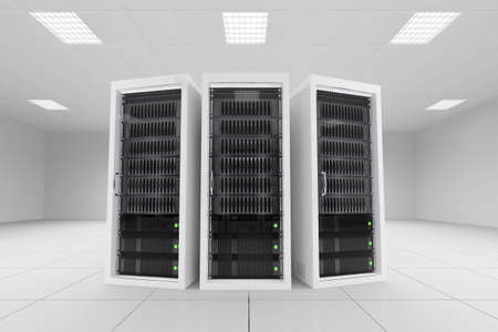 three data racks in server room bright white photo