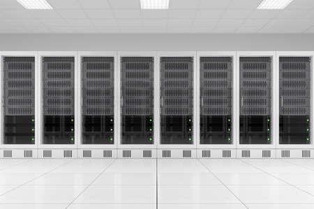 three data racks in server room bright white photo