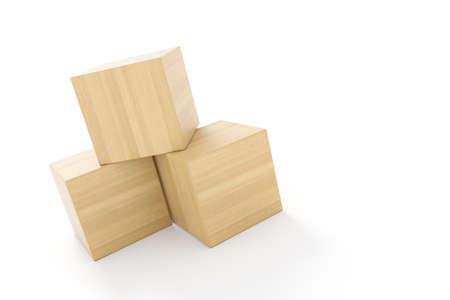 three cubes made of wood on white background isolated Standard-Bild