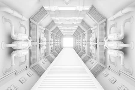 Spaceship interior bright white center view with floor