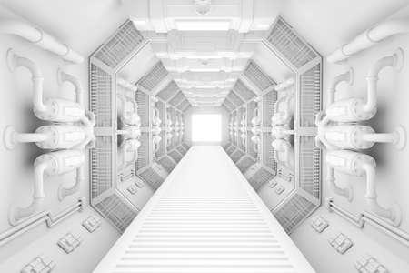 Ruimteschipbinnenland helder wit centrum view met vloer Stockfoto