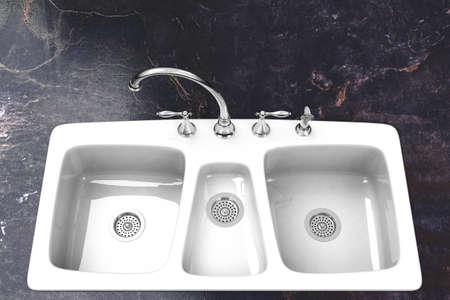 fixture: Kitchen sink with marble counter and chrome fixture