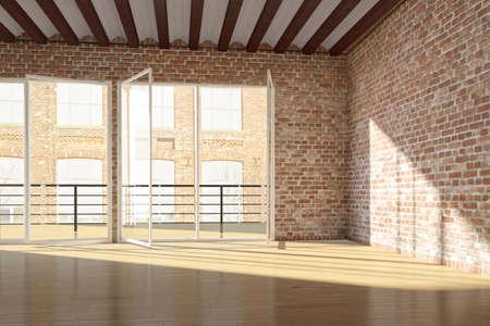 paredes de ladrillos: Desván vacío con pared de ladrillo rojo y ventanas abiertas Foto de archivo
