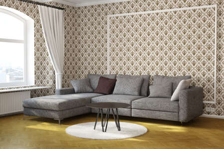 Living room with table and carpet and fancy wallpaper 版權商用圖片