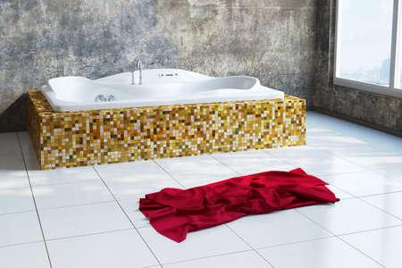 Stadt Badezimmer mit rotem Tuch und Grunge-Look Standard-Bild - 29811317