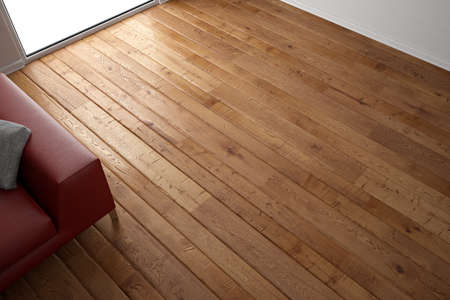 wood flooring: Wooden floor texture with red leather couch and pillow Stock Photo