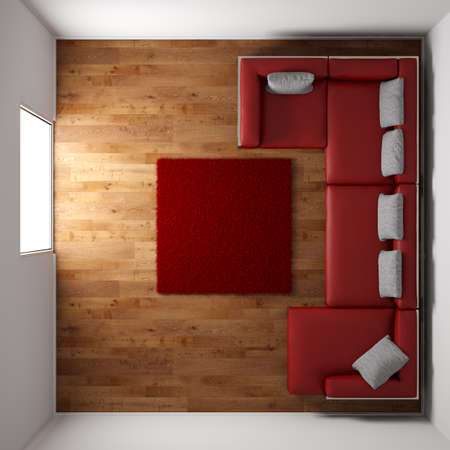 Wooden floor texture with red leather couch and pillow top view