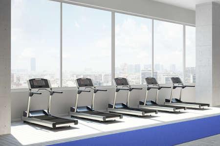 Fitnessraum mit einer Reihe von treatmills in der städtischen Umwelt Standard-Bild - 30533039