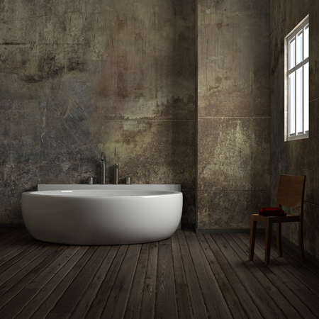 Vintage-Bad mit Stuhl und Handtuch getragen Standard-Bild - 30533040