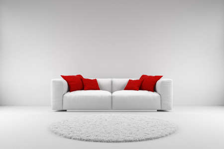 the red wall: White couch with red pillows and carpet with copy space Stock Photo